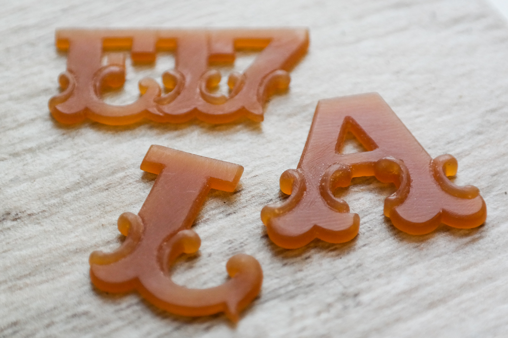 Jewellery wax carving circus letters