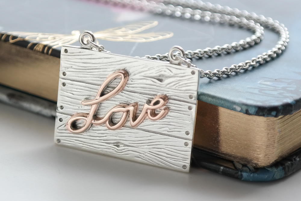Sterling silver and rose gold neon art love necklace