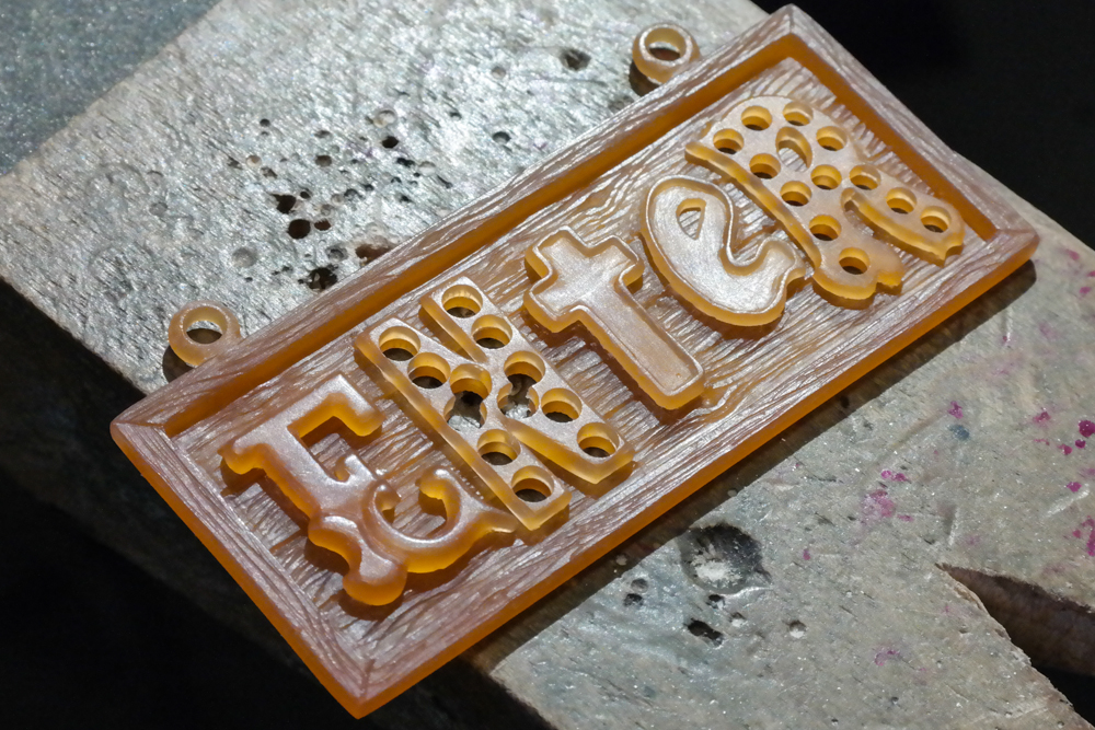 Wax carving enter neon art