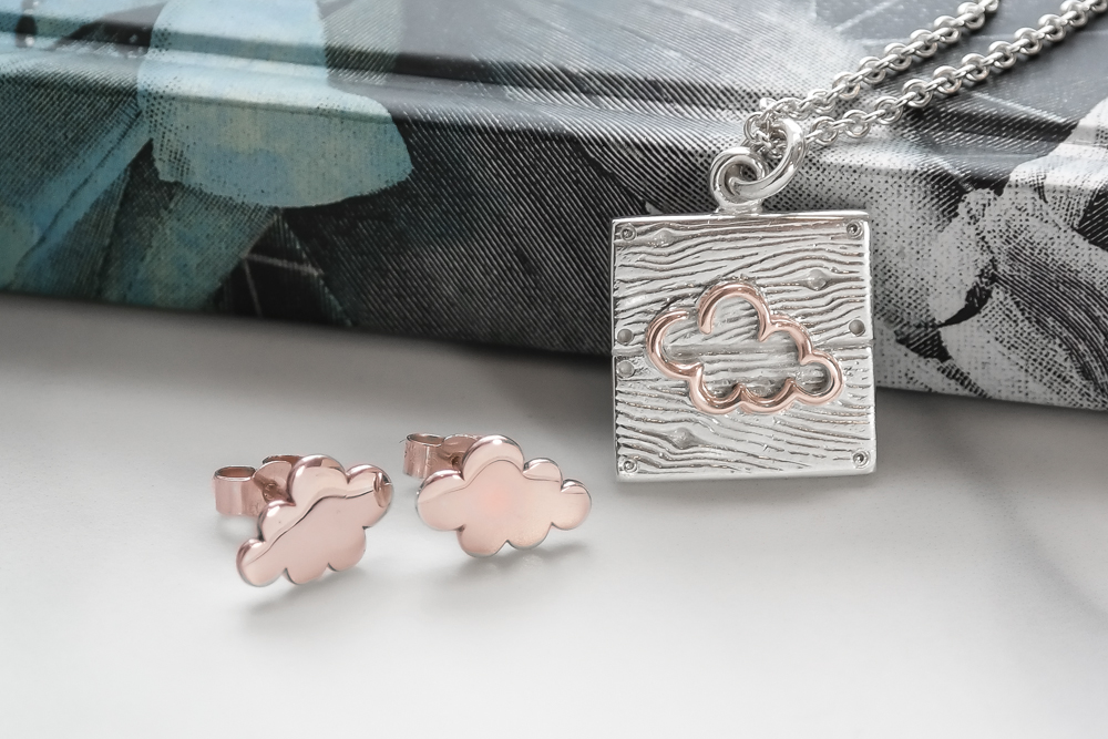 Silver and rose gold neon art cloud necklace earrings