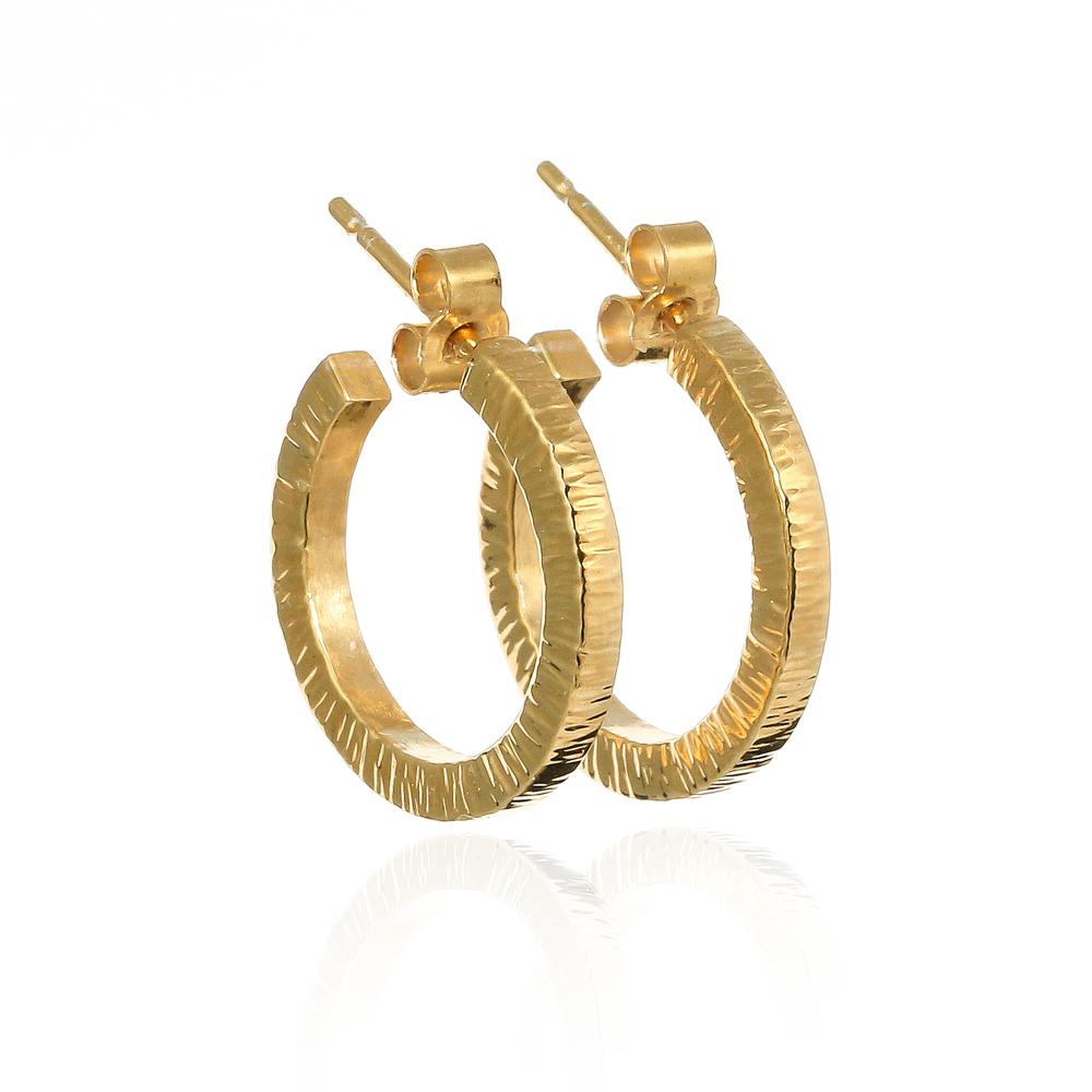 Gold vermeil eco silver hammered chunky hoop earrings