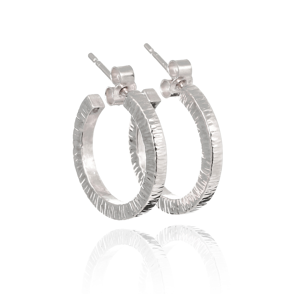 Sterling silver eco recycled hammered chunky hoop earrings