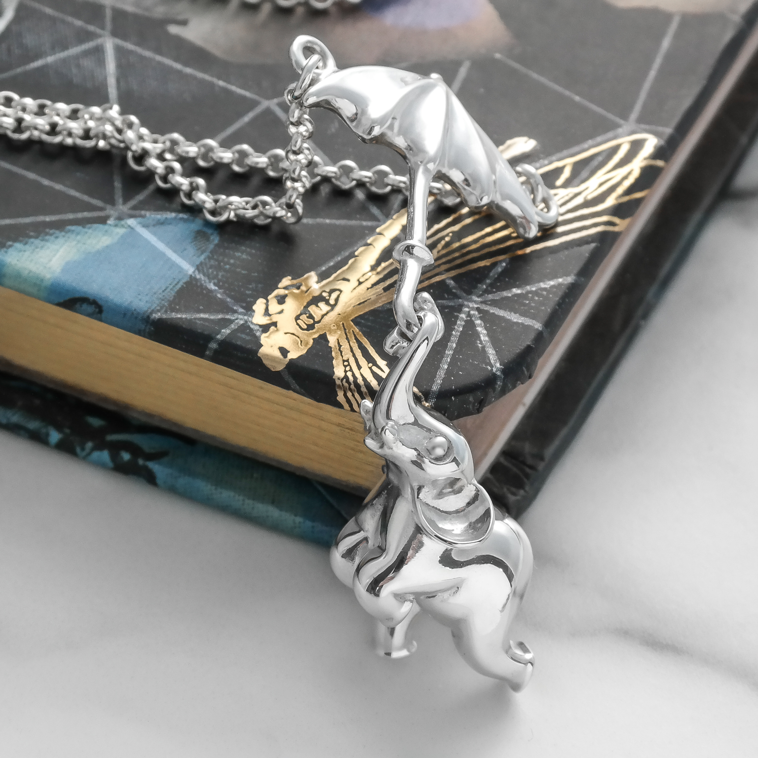 Sterling silver flying elephant umbrella necklace