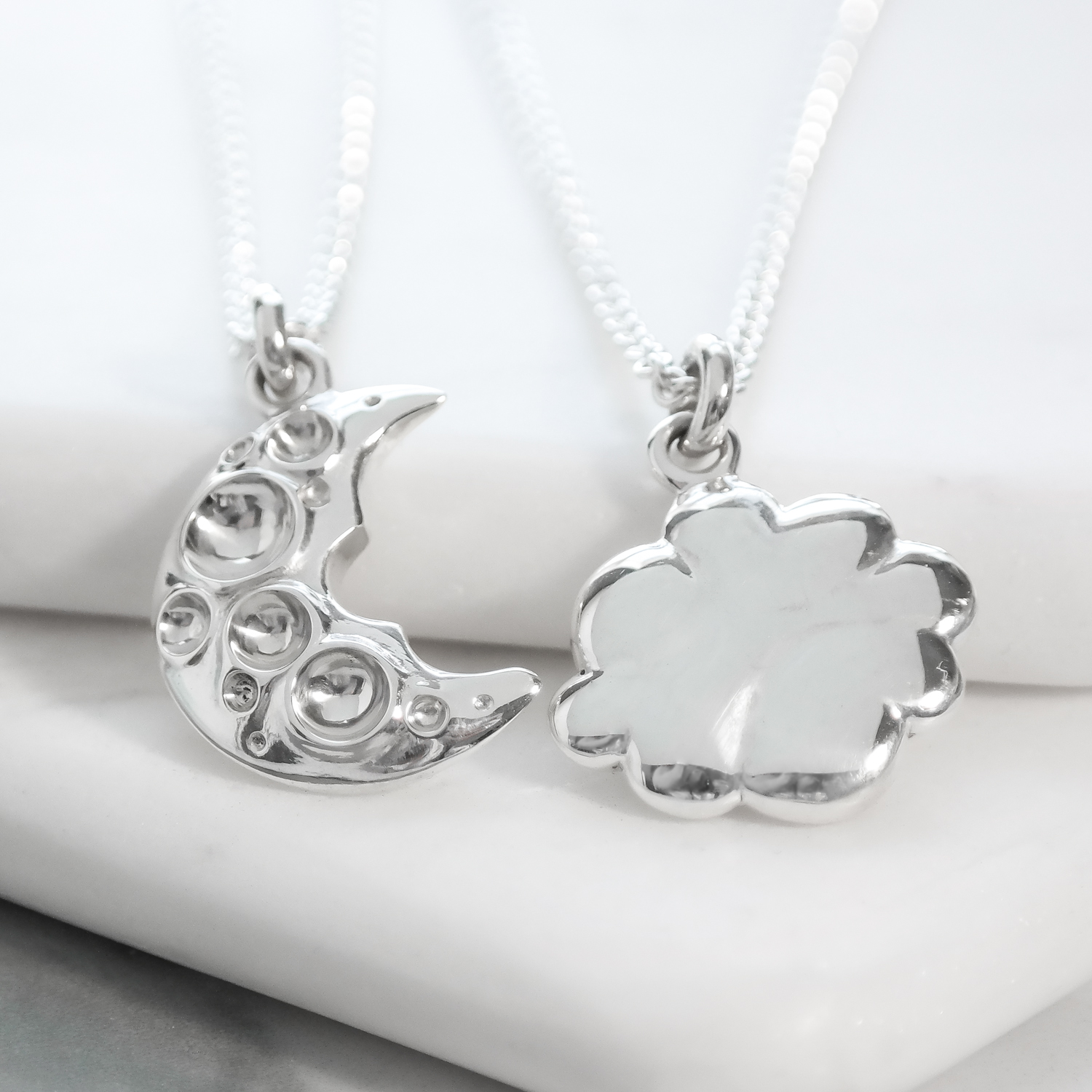 Sterling silver interlocking friendship necklace cloud moon sist