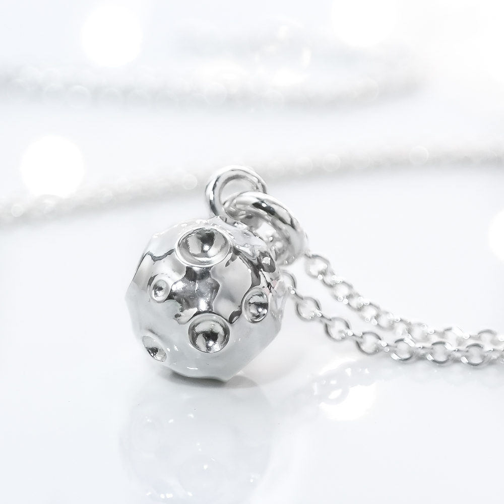 Sterling silver solid 3d full moon necklace ethical eco silver
