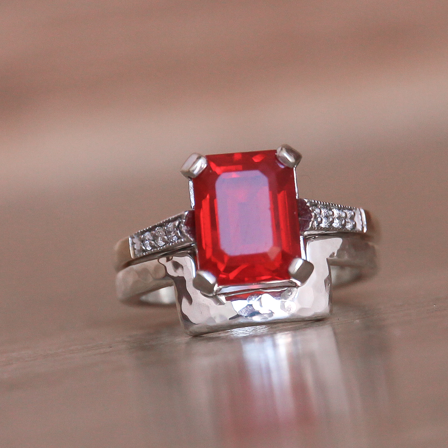Shaped wedding ring for emerald cut engagement stone