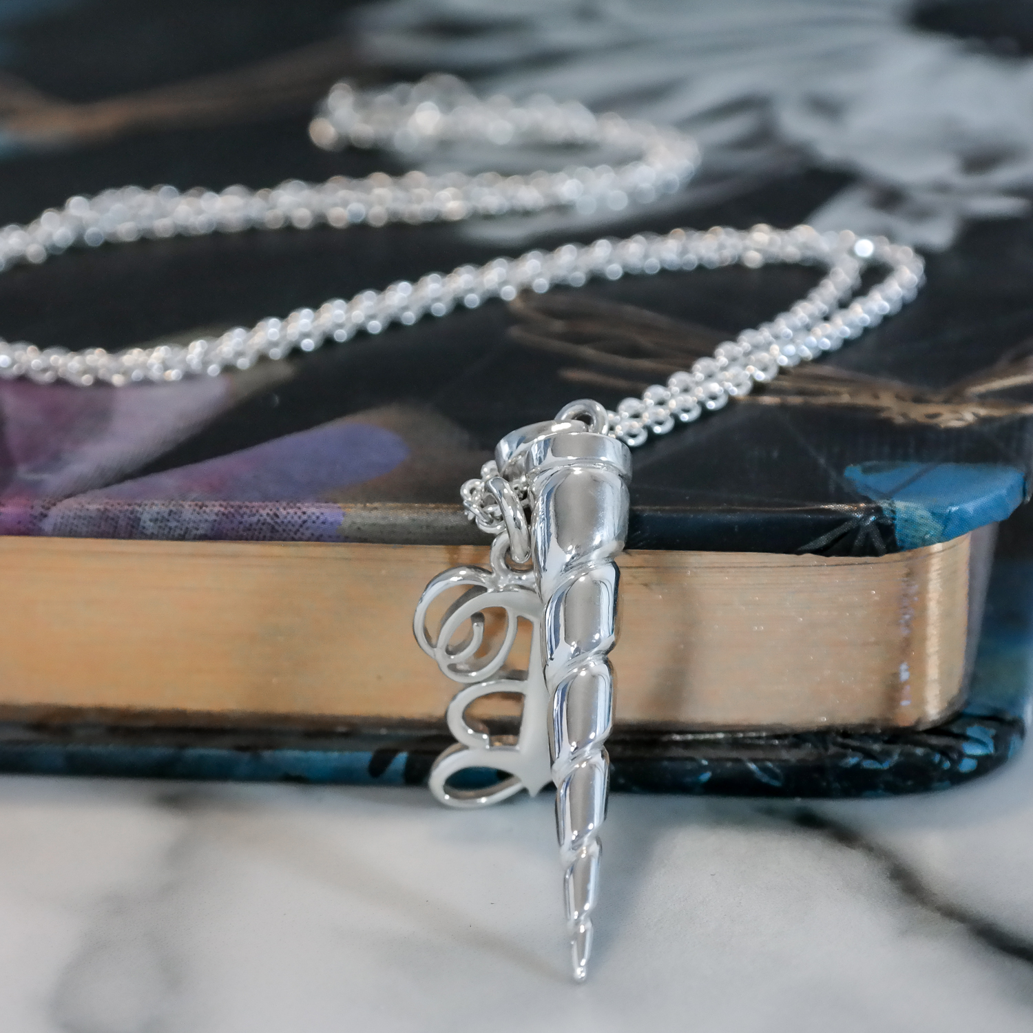 Silver unicorn horn and custom initial necklace