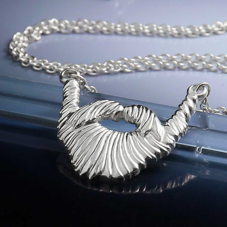 Sterling  recycled silver handmade 3d beard necklace