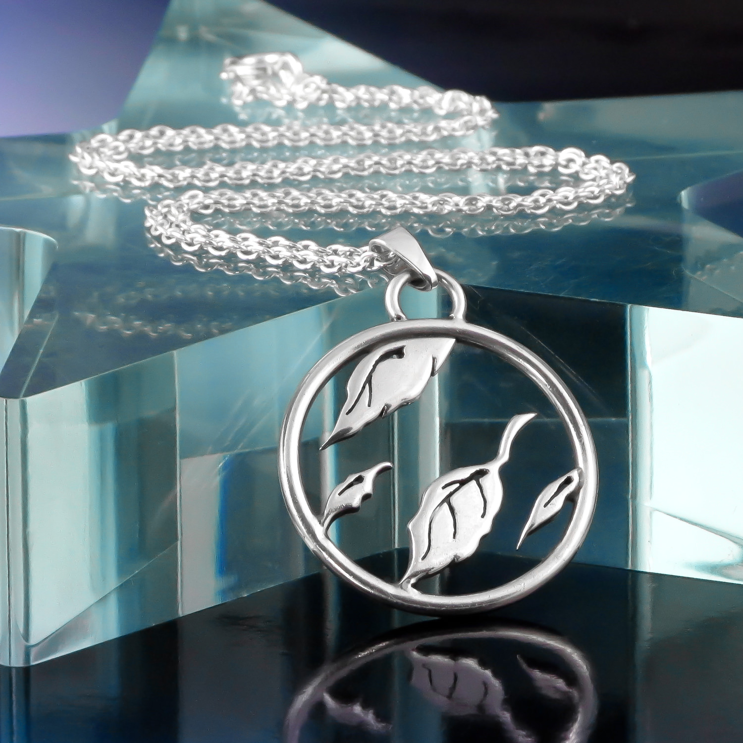 Sterling silver AFI Sing the Sorrow falling leaf necklace