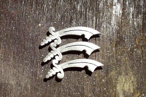 Silver Essex triple sword charm work in progress