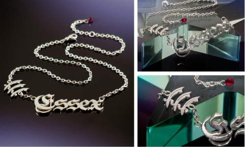 Sterling silver Essex name plate necklace