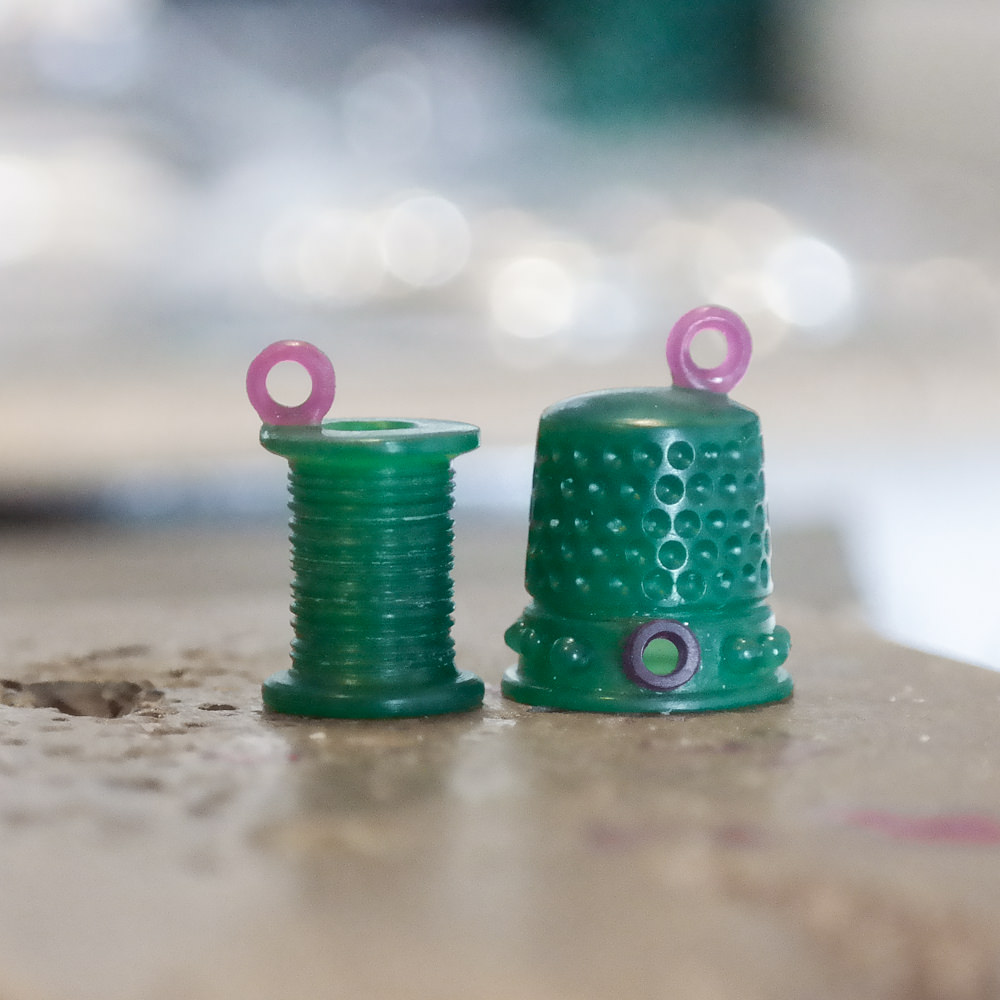 Wax carving for jewellery sewing thimble and cotton reel
