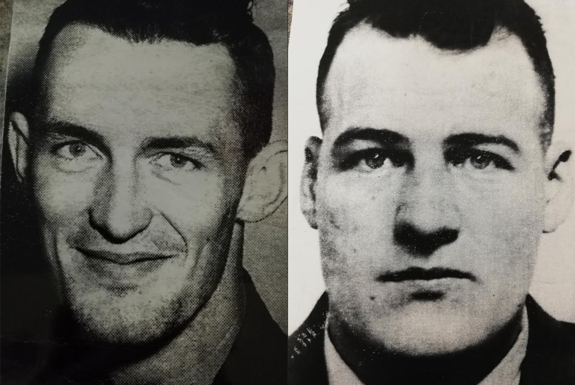 1954 - Peter Balcombe (left) executed & Henry Seguin (right) cheats the hangman by suicide.