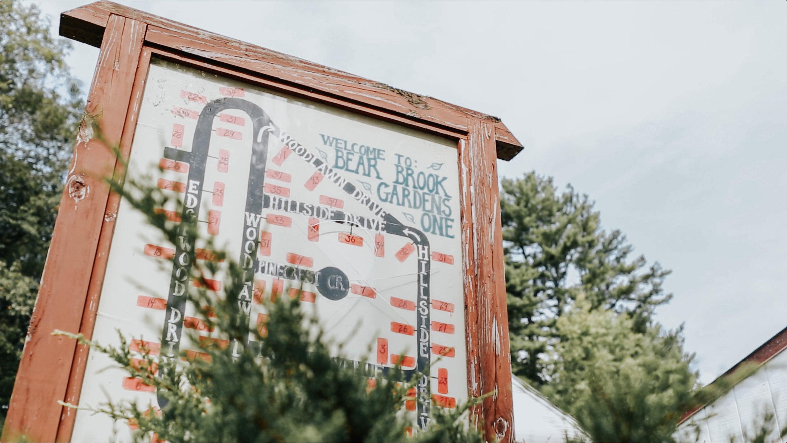 A map of Bear Brook Gardens, a neighborhood abutting the park