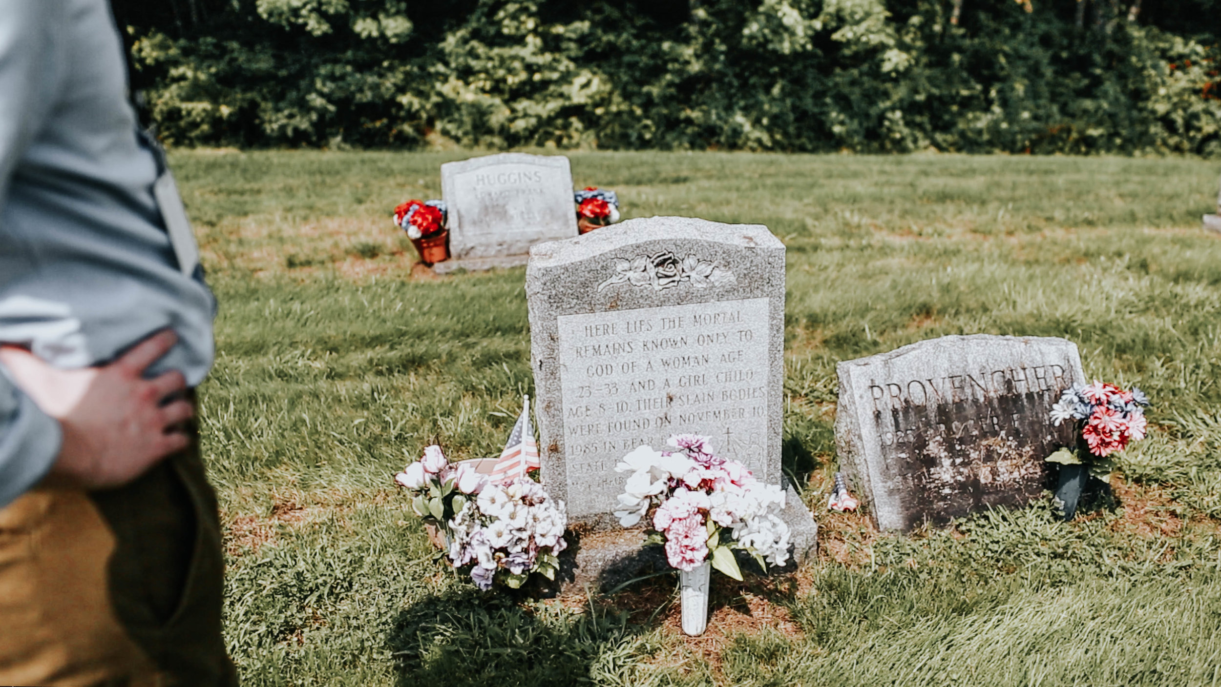 The headstone placed on the grave where the first set of remains were buried.