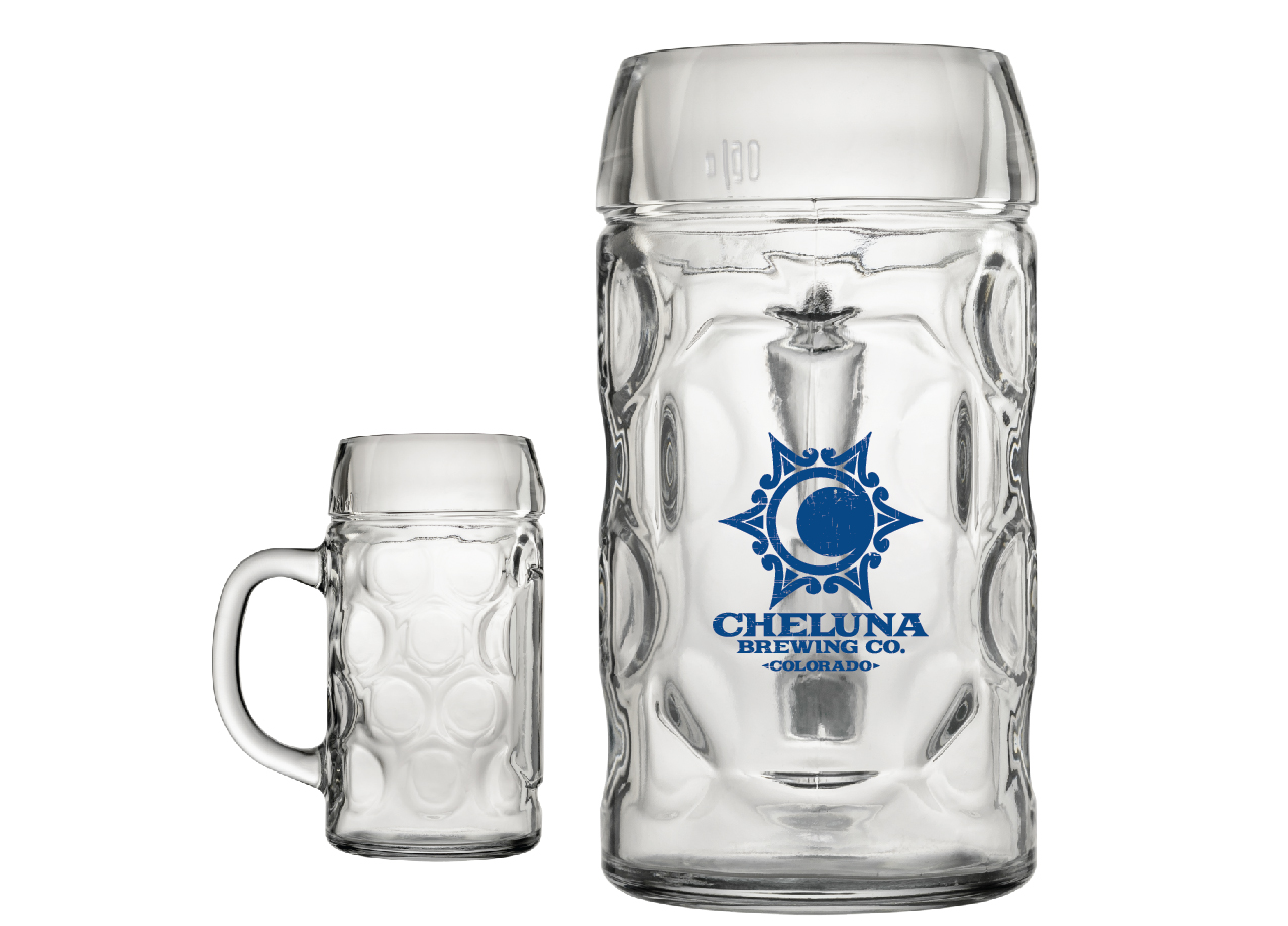Cheluna Logo Beer Steins - Limited availability of our German steins!1 Liter: $10, with beer $20, refill $12Half Liter: $6, with beer $10, refill $6