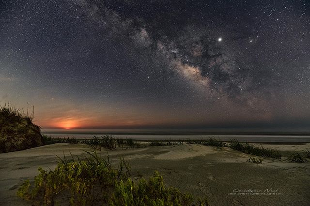 Breaking Moon - Some people like watching the sunrise but I'd much rather set up my camera and watch the Milky Way slowly fade as the Moon rises above the ocean.⁠⠀ -⠀⠀⁠⠀ -⠀⠀⁠⠀ -⠀⠀⁠⠀ #milkyway #sunsetbeachnc #thegreatmilkywaychase #astrophotography #stars #milkywaychasers #northcarolina #natgeospace #sigma #scphotographer #nikon #sigmaart #nightshooterz #nikonartists #YourShotPhotographer #NikonD750 #NikonUSA #discover_carolinas #photopills #nightscaper #longexposure #sigma1424mmart #milkywaygalaxy #newmilkyway #lonelyplanet #onlyinsouthcarolina #lowcountry #astrophotographer #nightskyphotography #moonrise⁠⠀