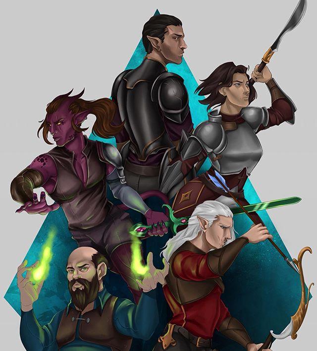 The Midnight Riders! I finally got around to finishing my dnd groups party shot. Meet Satan, Tokka, Jody, Crumb and Radford! . . . #dnd #dnd5e #dndcharacter #illustragram #illustrator #digitaldrawing #dungeonsanddragons #tiefling #paladin #warlock #elf #halfing #necromancer #artoftheday #artistsoninstagram