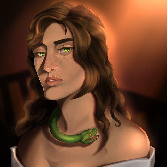 Just a girl and her snake...in hell. A piece for a group project . . . #hekate #characterbust #characterart #snake #digitalart #digitaldrawing #fantasyartist #greekmythology #illustrator #illustragram #artoftheday #artistsoninstagram #artist
