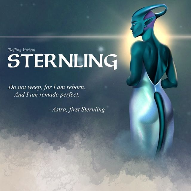 Surprise!! What I've been counting down all weekend for. I made a playable race for dnd! Meet sternlings a variety tiefling race.  You can download the PDF off of DMs guild (link below) or go into my highlights and screenshot it there. It's free to download.  https://www.dmsguild.com/product/283576/Sternlings--Varient-Tiefling--5e?filters=45469_0_0_0_0_0_0_0 . . . #dmsguild #dnd #dungeonsanddragons #dnd5e #tiefling #sternling #playableraces #characterdesign #fantasy #fantasyartist #dungeonsanddragonsart #freetoplay #illustration #illustrationart #illustragram #celestial #tieflings