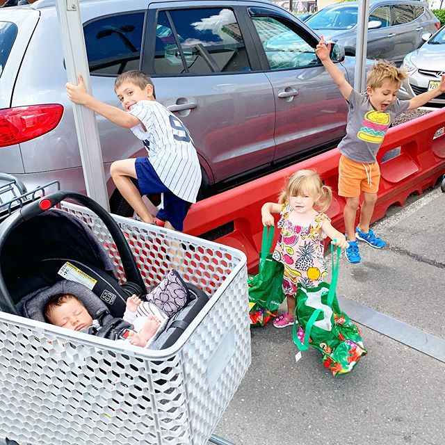 There's a first time for everything—like taking 4 children into a grocery store. Taking bets now for which will be higher: the number of items that get knocked off of store shelves or the number of people throwing horrified looks at this wild crew.