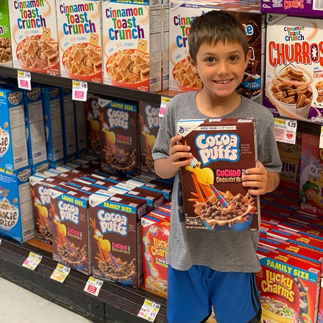 "Do you do junk cereal? On 362 days of the year, my answer is no (hence the tantrums you may have heard in aisle 5 as we pass the COLORFUL 🌈 , cookie- and character-covered boxes for ones that list sexy logos like ""5g of fiber per serving""). But a few times a year, I pause my cereal policing so each child can pick a birthday cereal of his choosing. My parents started this tradition when I was a kid, and I love it for the joy that it brings, and also that it teaches kids that nothing is forbidden—instead there are foods we should enjoy most of the time and others we should eat in moderation or on special occasions.  What's your junk cereal policy? And in case you're wondering how to choose the healthiest cereal on the other 364 days, here are my normal guidelines that I follow for my family: https://www.peasfulkitchen.com/blog/how-to-choose-the-best-cereal"