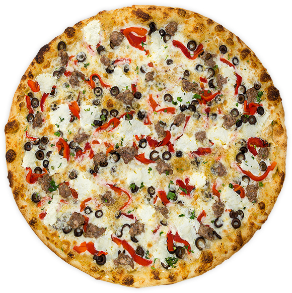 Brooklyn - Garlic parmesan sauce, Italian sausage, black olives, roasted red pepper + ricotta