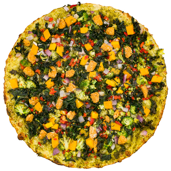 Vegan Supreme - Hearty vegan balls with freshly diced onion, kale, roasted red peppers, broccoli, squash on a cilantro pesto base. No subs to veggies on this pie, sorry!