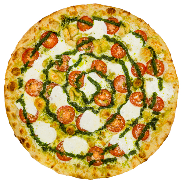 Summerita - Sliced tomatoes, fresh mozzarella, parmesan cheese + house-made basil pesto on an olive oil base