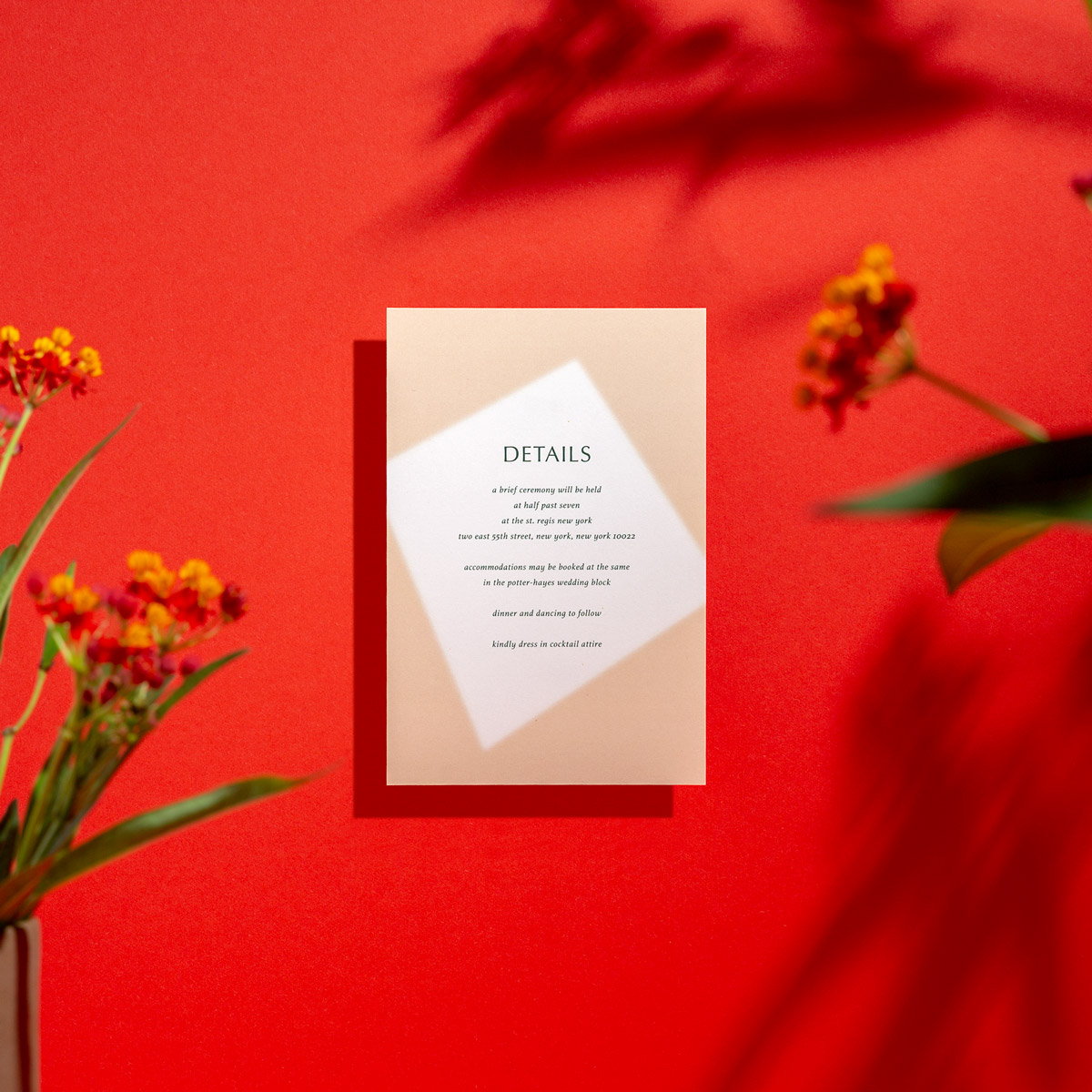 The Flor info card keeps it simple and elevated for fine celebrations
