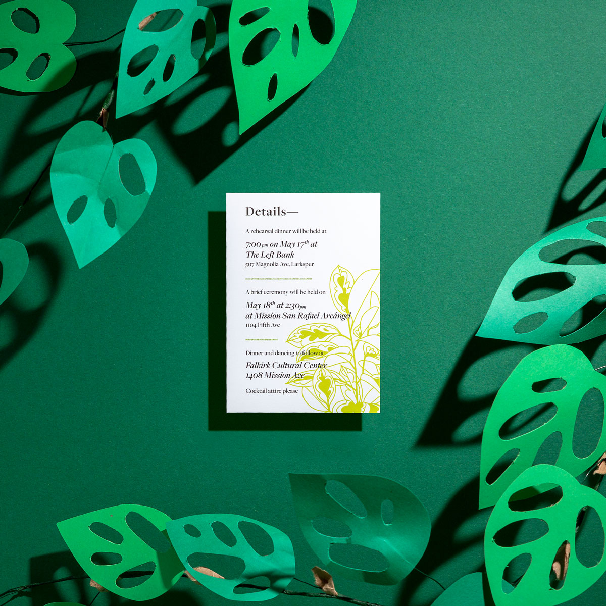 Ephemora's Ficus info card uses modern illustrations to accent your wedding details.