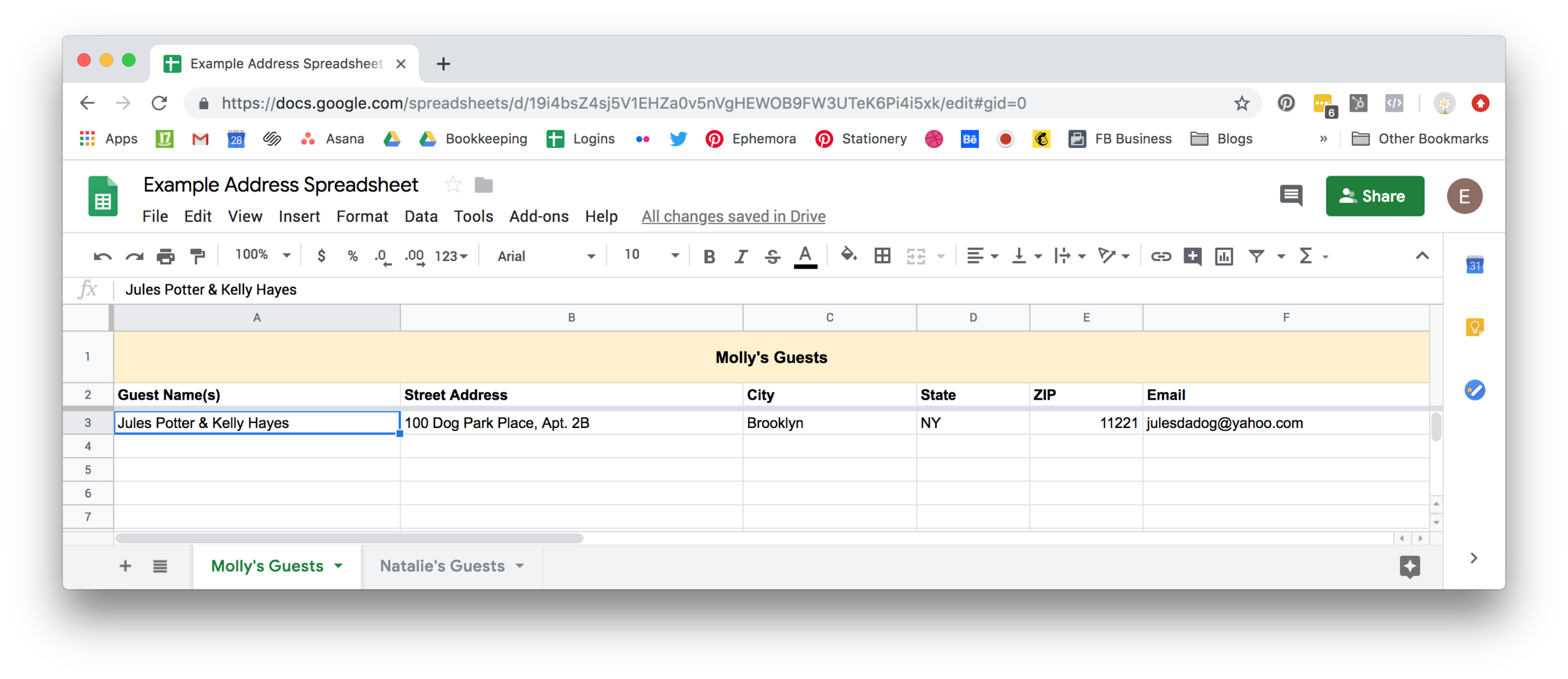 A screenshot of our example Address Spreadsheet.