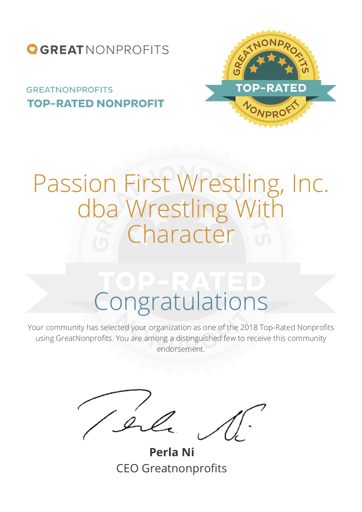 2018 great nonprofits JPG.jpg It's official. Passion First Wrestling, Inc. dba Wrestling With Character is on the 2018 Top-Rated List.