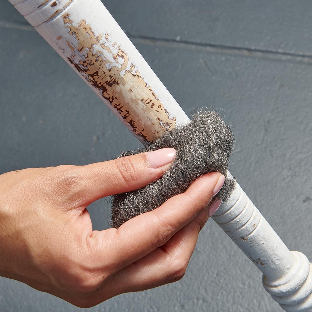 Brillo® Supreme® Strip & Shine™ Steel Wool Balls striping wood
