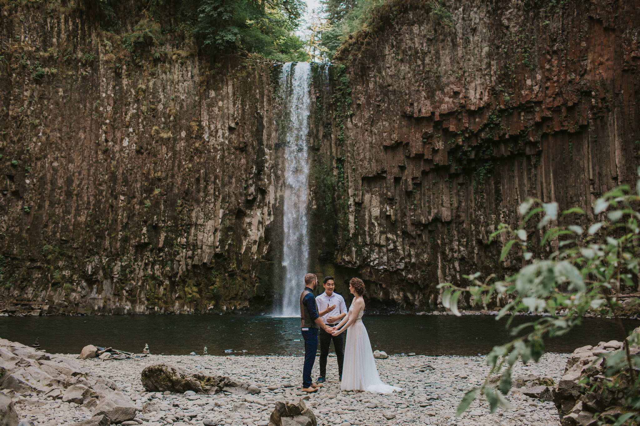 Adventure wedding at Abiqua Falls outside of Portland, Oregon. An elopement in front of a waterfall.