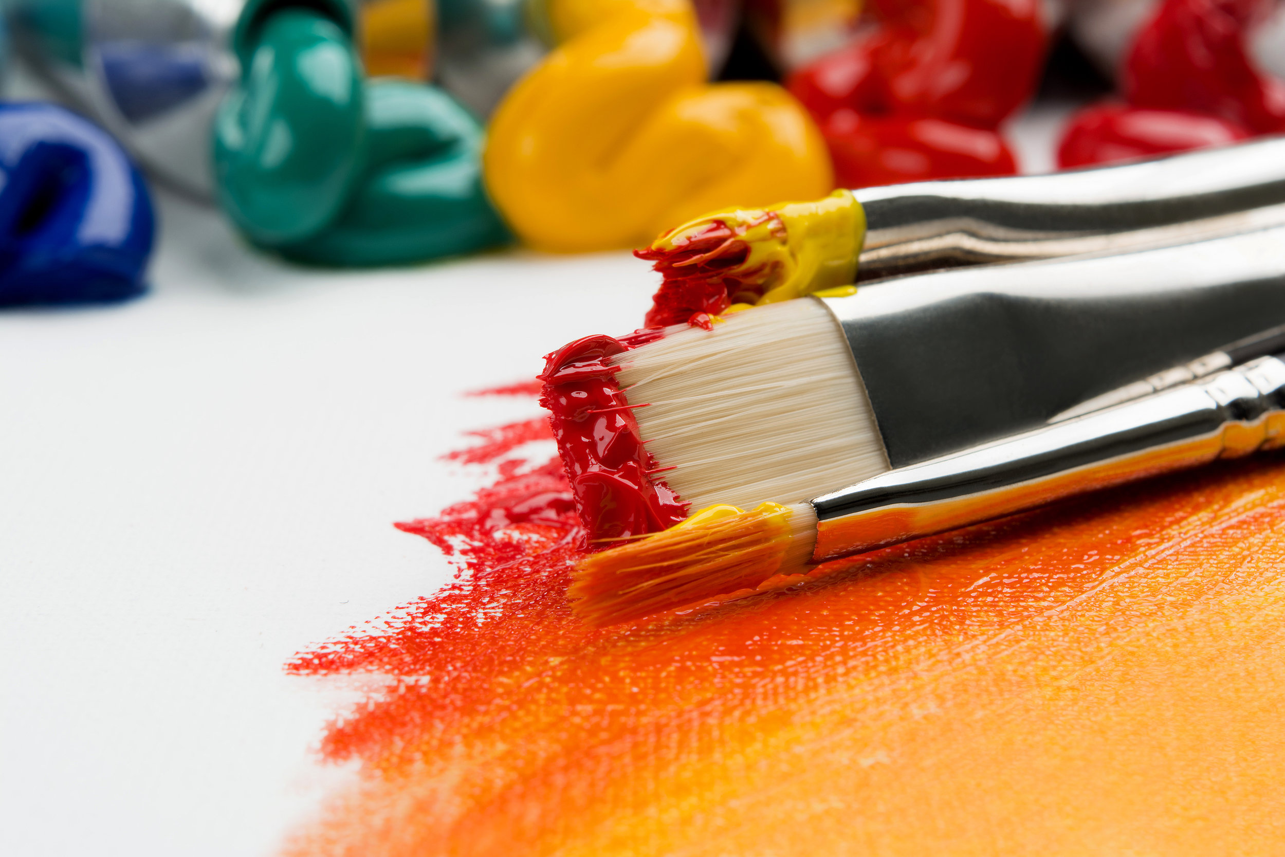 Paint brushes with paints