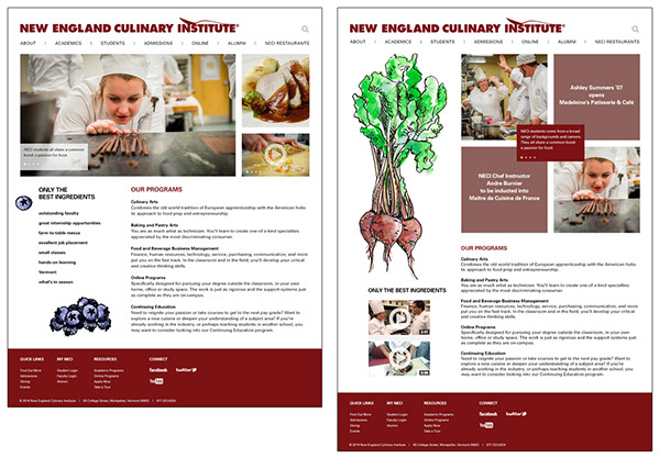 Proposed website layouts for New England Culinary Institute.