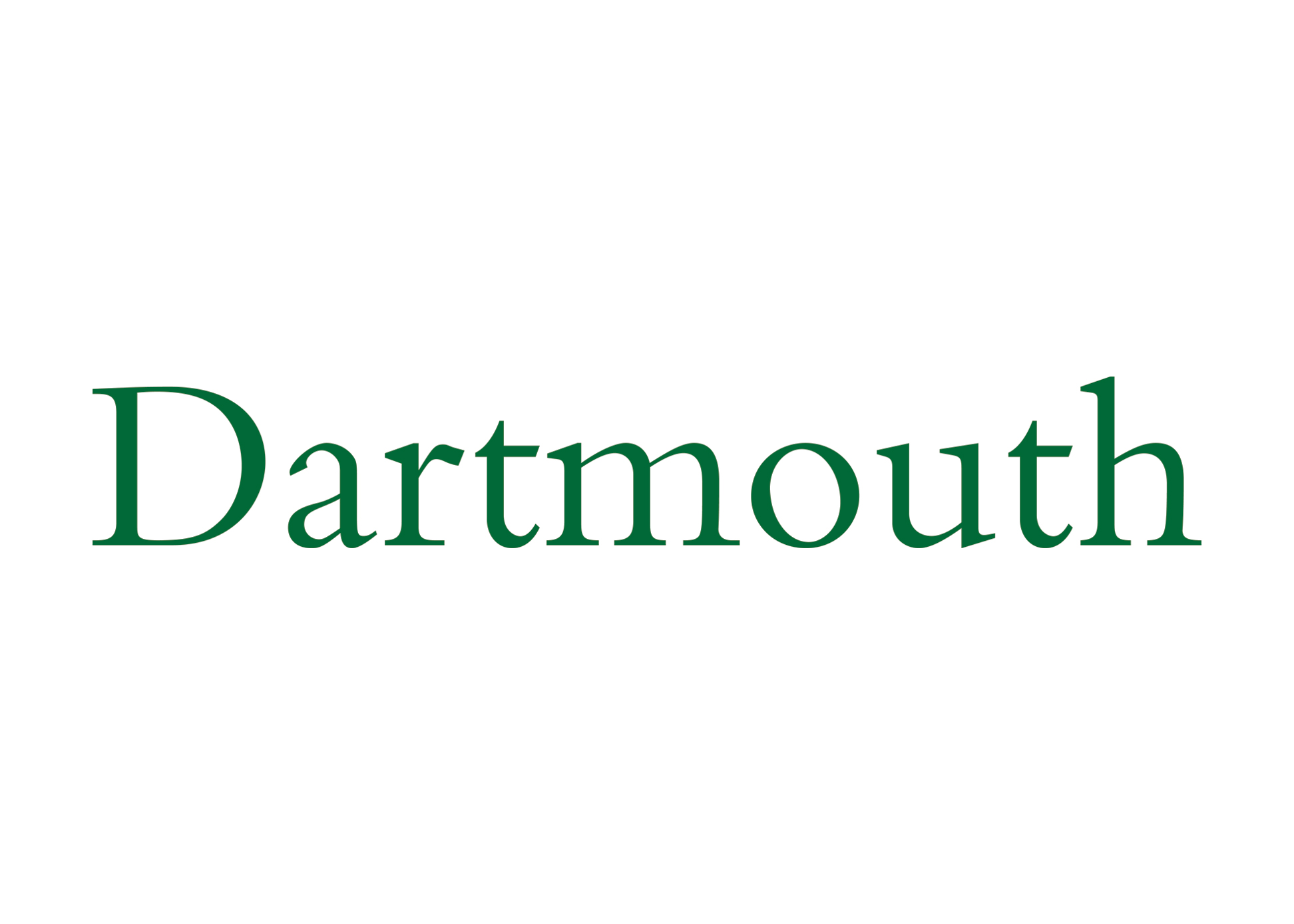 "For the cover of the first view book we designed for Dartmouth Admissions, we spec'd the typeface Bembo in Dartmouth green, and recommended dropping ""College."" This became the de facto new word mark for the College for many years: it was used consistently on countless admissions and development publications; on various college vehicles; and it was front and center on the home page of Dartmouth's website."