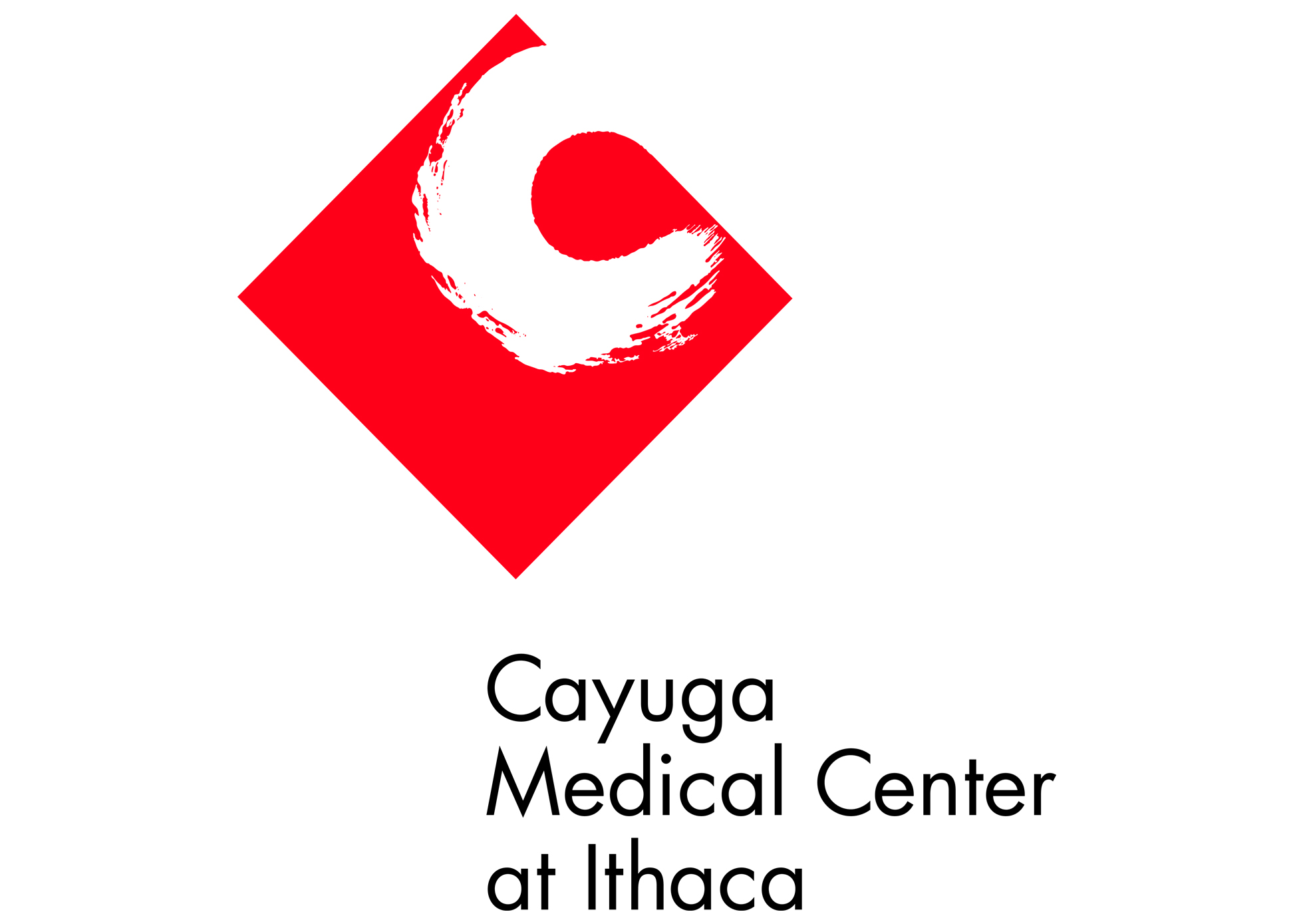 The goal of Cayuga Medical Center at Ithaca was to rebrand themselves as a regional medical center, and to move people away from the old notion that they were a small community hospital. They wanted their new logo to at once convey high-tech/precision/state-of-the-art medical technology, with a softness that implied superb patient care, a human touch, etc.