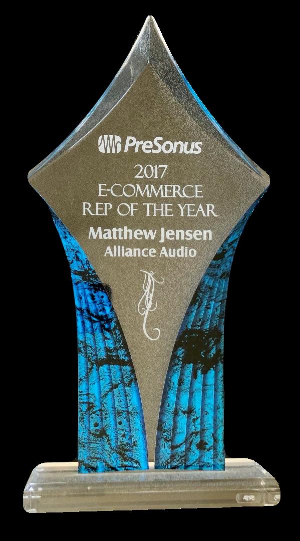 2017 PreSonus E-Commerce Rep of the Year