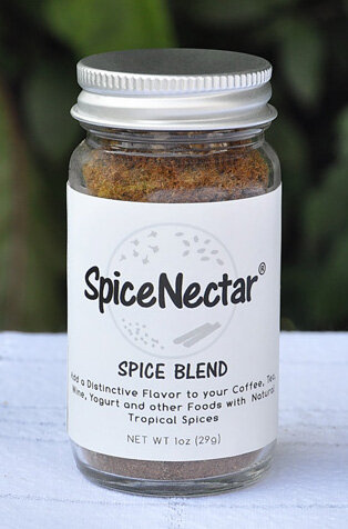 SpiceNectar is a special blend of 4 tropical spices to be sprinkled on food and drinks.