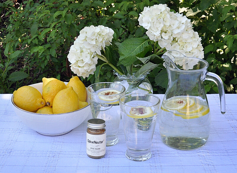 Sprinkle pinches of SpiceNectar in your lemon water and stir it in