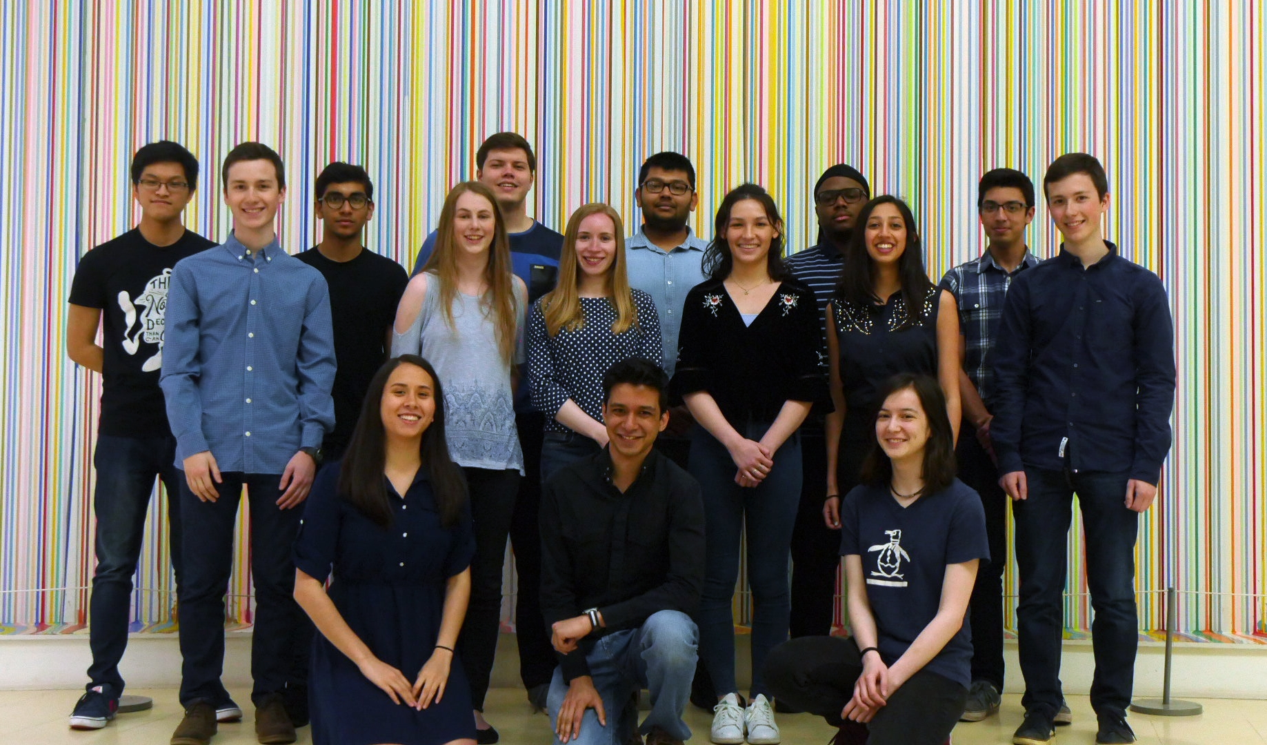 The Executive Team for 2018 - 2019.  Left to Right; Front Row:  Claire Douay ,  Khondker Shabaab ,  Sarah Hayes ; Middle Row:  Harry Adams ,  Hannah May ,  Isabella Curtis ,  Lara Lai ,  Karishma Desai ,  Jack Adams ; Back Row:  Varon Fung ,  Ishaan Verma ,  Thomas Lutey ,  Shadman Rafid ,  Christian Nyamali ,  Aaron Carver .