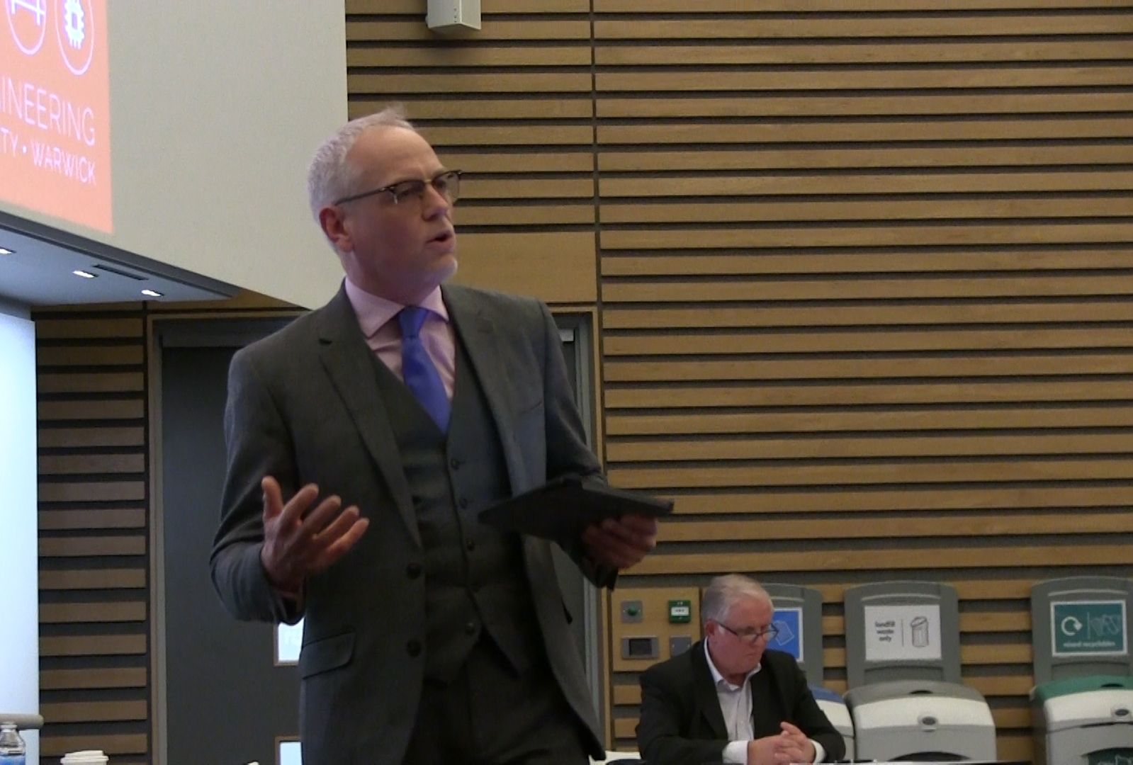 Professor Colin Williams makes his case during the debate