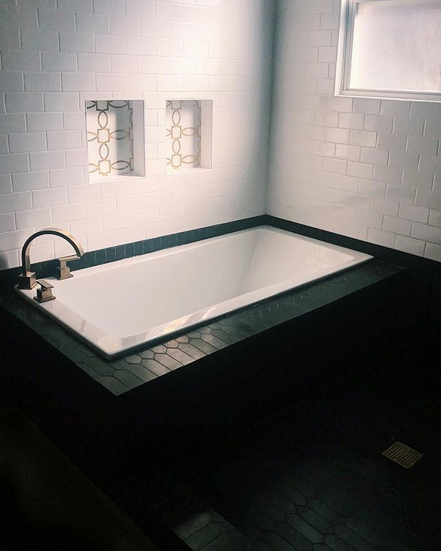 R U B • A • D U B • D U B 🛁       this bathroom renovation turned out better than I could have ever imagined ✨🖤 before + after photos coming soon! | design cred: @tresorcru . . . . . #interiordesign #allthefeels #homegoals #designinspiration #design #homeideas #homedecor #tresorcru #vintage #vintagestyle #midcentury #midcenturymodern #black #moody #eclectic #decor #shopvintage #betterthannew #style #vintagehome #lucite #hollywoodregency #goldobsession #marble #granite #tile #bathroom #herringbone #blackandwhite #blackwhiteandgold