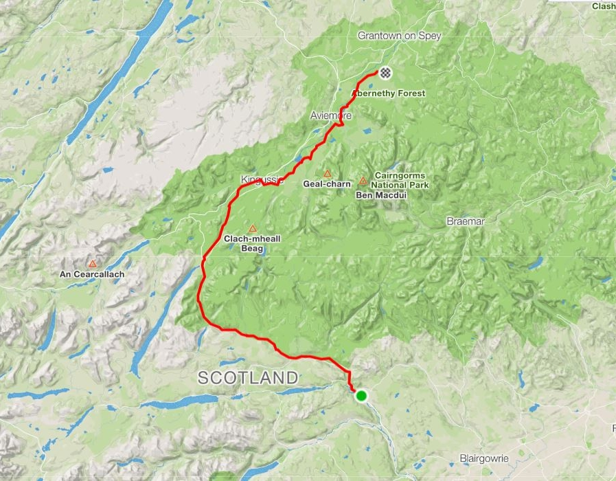 Day 15 - Pitlochry to Nethy Bridge with my little girl Jenny. An effortless performance keeping up today from Jenny which is a direct contrast to her son's efforts earlier in the week and on par with her nephews Jamie's attempt on Thursday.Distance: 114.60 km Time: 6:24:00 Elevation Gain: 970 m