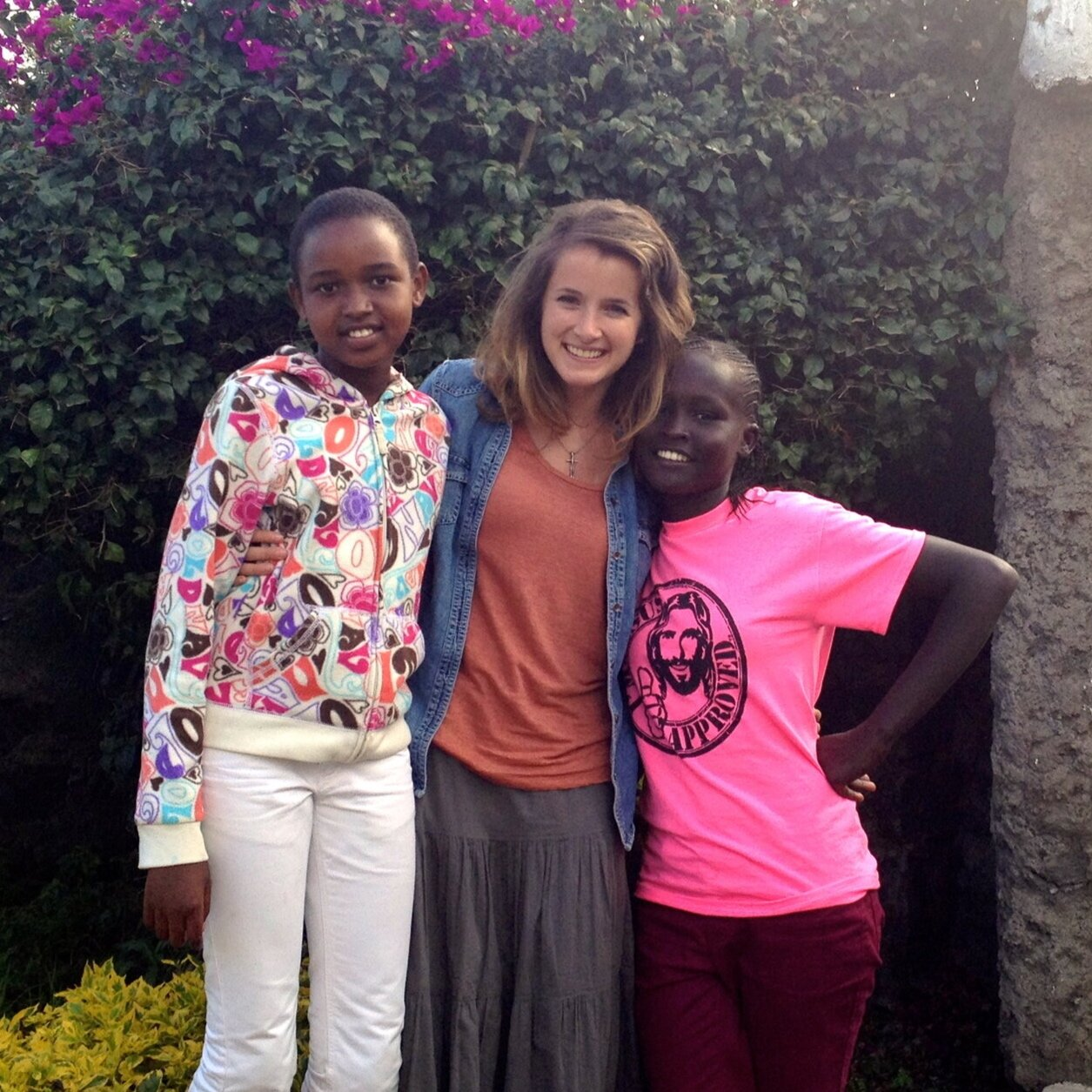 2014 - Caitlin in kenya with two rescued girls