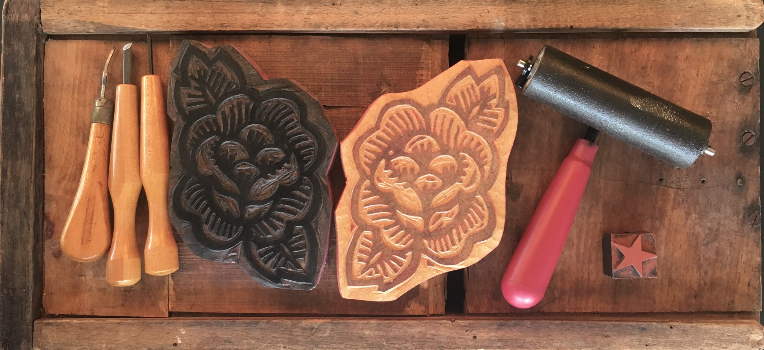 woodblocks printmaking tools