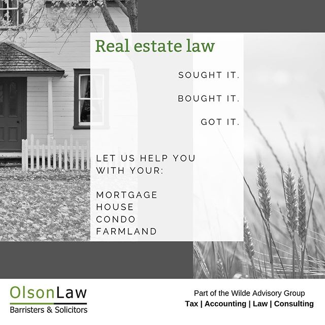 Our practice areas include real estate legal services. Call our office to book an appointment - we will make you feel right at home! • Appointments available in Vegreville, Edmonton or Camrose • #olsonlawveg #vegreville #edmonton #yeg #camrose #alberta #homeowner