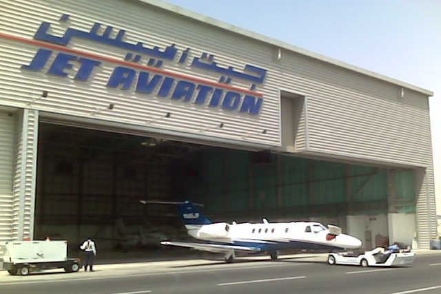 Juliet Papa going in to the Jet Aviation Dubai hangar for a well deserved rest while we are gone.